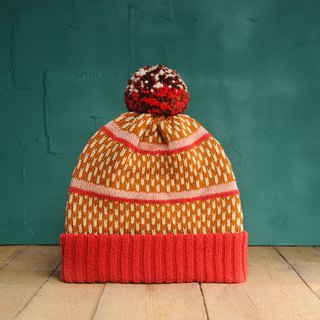 Dash Line Red Detachable PomPom Beanie Hat