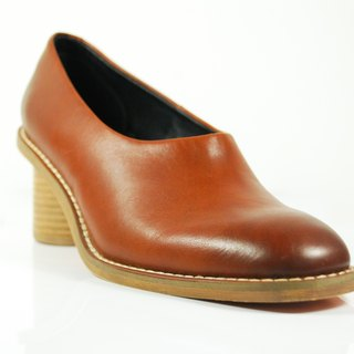 Wooden cylinder high-heeled shoes