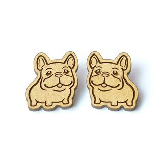 wood brooch - Cute French Bulldog