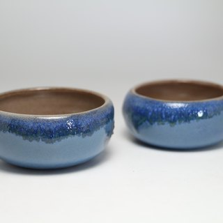 Blue ceramic cups water droplets--handmade--handmade--casting--glazed - Clay