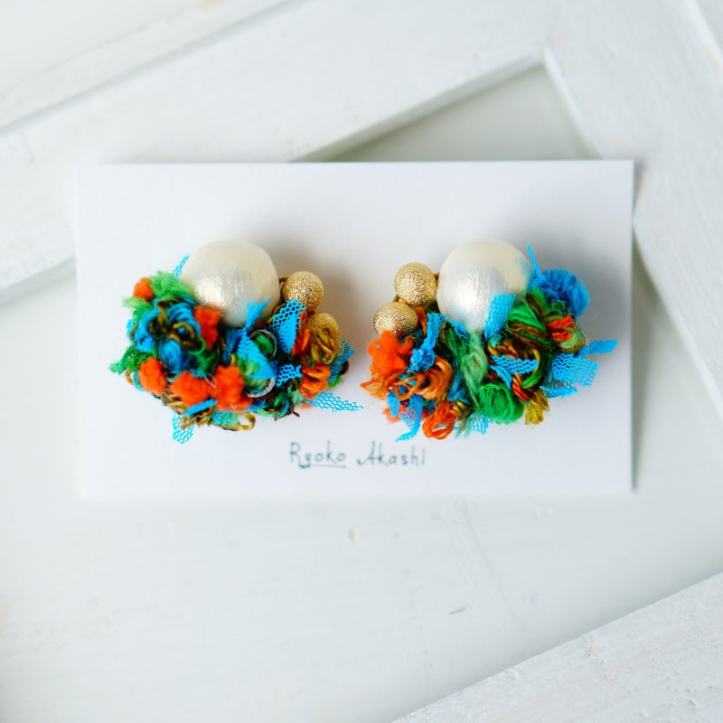 Fancy yarn Earrings and Clip-ons Orange Pompon