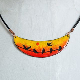 Panorama Landscape, Sunset, Birds, Bird Necklace, Sunset Necklace,Enamel Jewelry