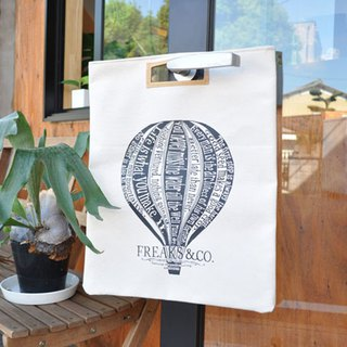 Canvas bag  balloon print  black, gray