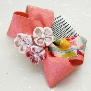 "With hair ornaments old cloth of ""new color"" knob crafted [ribbon vermilion]"