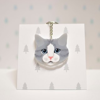 Doll Cat - Tabby Cat - Key Ring Acrylic