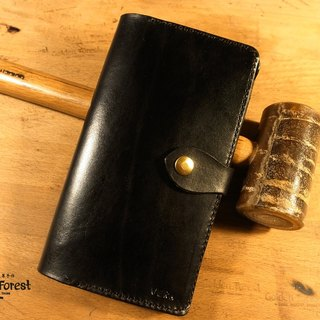 Golden Forest handmade leather original leather fashion bright black long multi-layer card clip cowhide leather wallet long clip gift Pinkoi