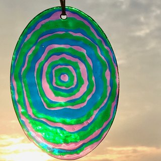 Swirls of Colours│Abstract Stained Glass Suncatcher Ornament (Purple x Blue x Green)