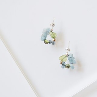 colour of seasons Summer Olivine Aquamarine Crystal Gemstone Silve earring