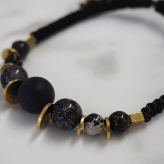 Natural stone beads hand rope - black agate, emperor pine