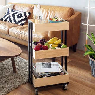 LIGFE Pine Wood Trolley Black/White