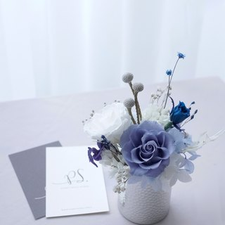 PlantSense Classic - pink blue rose with immortal flower / hand knock silverware
