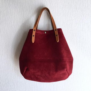 Round tote bag of cattle floor velor and extremely thick oil nude S - size 【Wine Red】
