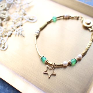 Wish stars-Green agate brass bracelet