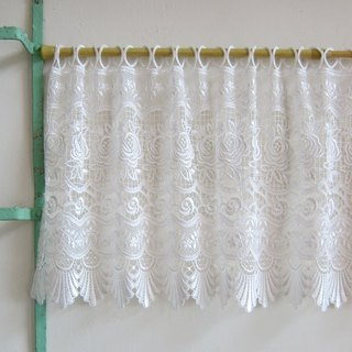 Embroidered Rose Lace Window Valance Curtain