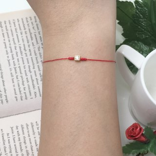 *Le Bonheur happy Line line*925 gold-plated sterling silver bottom red bracelet classical ultra-small gold square drill string zircon elegant temperament ^^