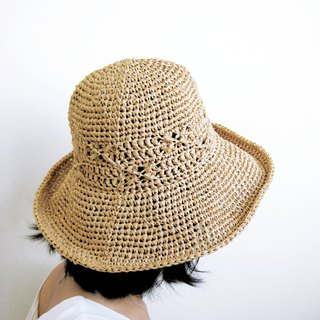 The midsummer hollow lets the cool breeze blow through the cross-knit wide-brimmed hat \\ khaki