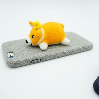 MoonMade Needle Felting Corgi Phone Case, Wool Felt Corgi Dog's Phone Cover, 3D Dog Phone Shell Birthday Gift for Iphone X 6 7 8 Plus Samsung LG