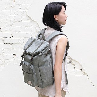 Double buckle large capacity backpack (14 吋 laptop OK) - hemp gray (pre-order 10/12) _100398