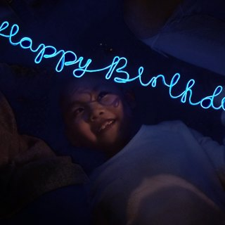 neonlite custom made wording light  /Happy Birthday/