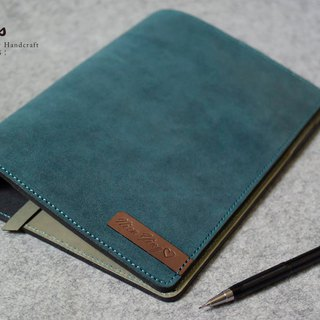 YOURS buttonless leather loose-leaf notebook + L mezzanine A5-Size blue and blue suede + green leather