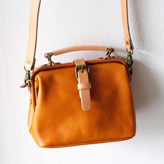 Mini Doctor Handmade Leather Bag / Small Retro Tangerine Shoulder Bag