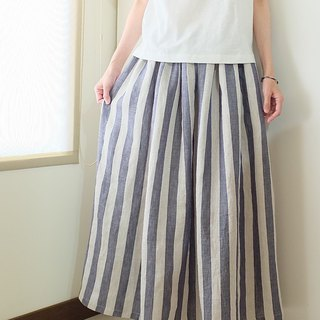 Daily hand-made suit retro blue thick stripes wrinkled long skirt linen special