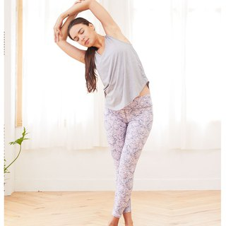 Aurora stretch tight yoga pants / cherry blossom impression