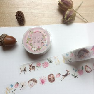 Zoe's forest 12 and paper tape - pink garland fawn and hedgehog