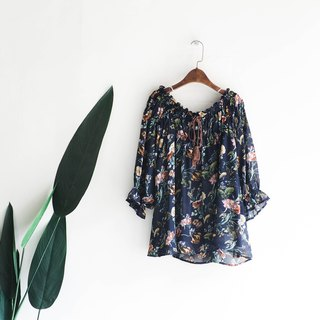 River Water Mountain - Yeouido Flat Collar Rolling Dark Blue Flower Sea Love Time Antique Silk Shirt Top