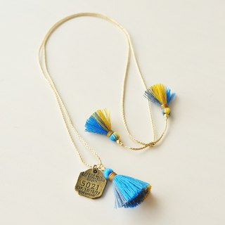 ネックレス/3way tassel necklace/blue