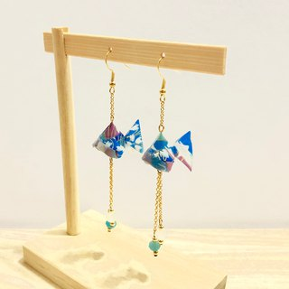 [Origami Earrings Series] Blue Royal Goldfish (can be changed ear clip)