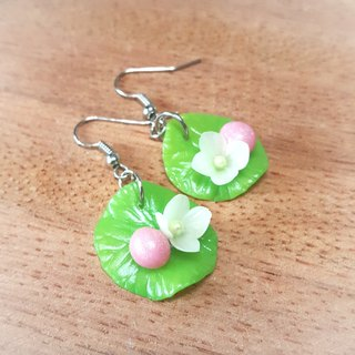 Pink lotus flowers and pearl on the ear hook earrings