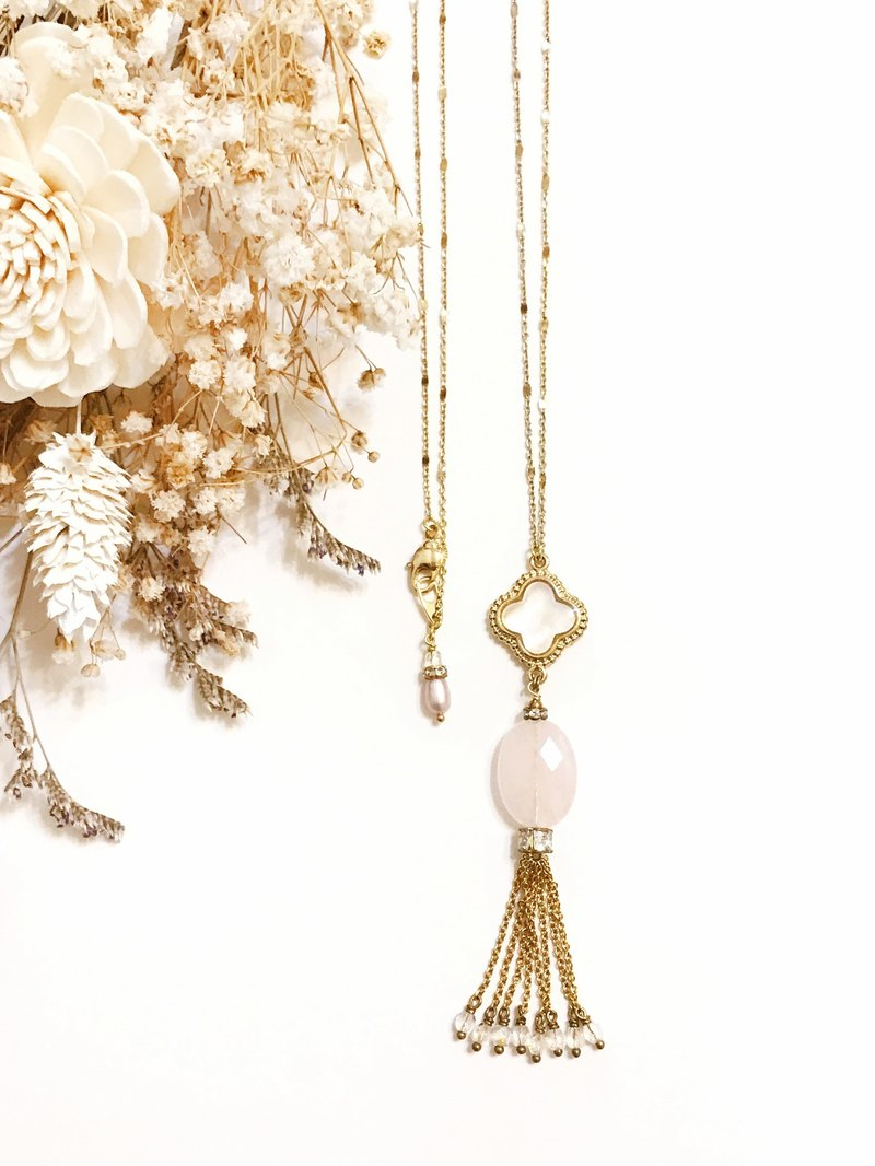 + mother of pearl, lucky grass, powder crystal, gold-plated tassel necklace + Valentine's Day gift