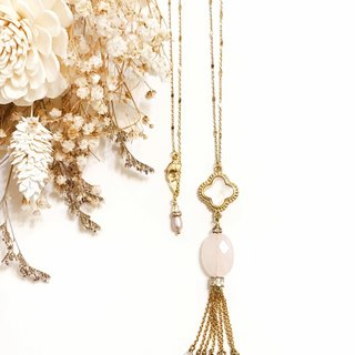 Mother-of-pearl, lucky grass, powder crystal, gold-plated tassel necklace