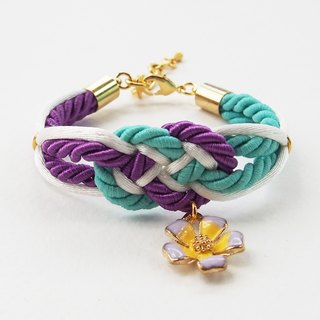 Purple/green mint/white infinity knot rope bracelet with flower charm