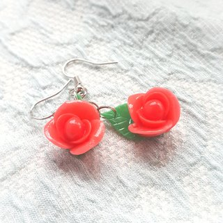 Rose & Leaf Earrings perspective