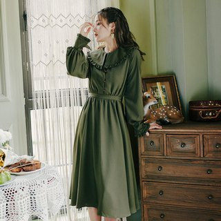 [Buy two get one free] early autumn new 2018 retro fashion lotus leaf collar belt long dress dress