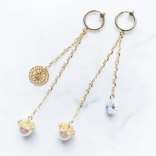 ::Limited Offer:: Transparent Droplets (Clear Zircon) Lace Carved Pearl Earrings