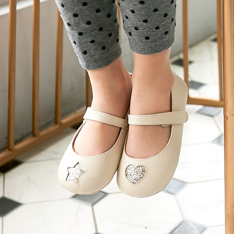 不對稱金蔥星心寳寳娃娃鞋-杏仁米