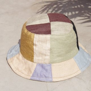 Limited to a ground forest wind splicing hand-woven cotton hat / hand fisherman hat / sun hat / patch cap / handmade cap - Japanese forest wild splicing handmade cap