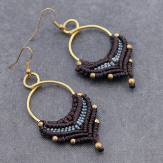 Macrame Earrings Bead Woven Brown Dangle Drop Leaf Boho