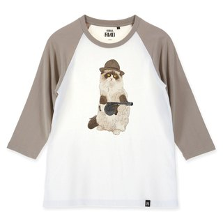 AMO®Original canned cotton adult 3/4 Raglan T-Shirt /AKE/Cat who hold the Chicago Typewriter