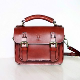 Vintage mini-bag Cambridge, reddish brown messenger bags, ladies bags vegetable tanned leather, double buckle shoulder bag