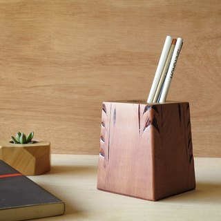 HO MOOD Deconstruction Series—Rolled Grass Pattern Antique Wood Pencil Holder (Large)