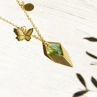 / Geometric wind / French striped mouth-blown glass short necklace long chain - forest butterfly and pure water droplets