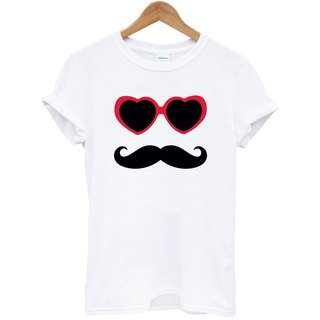 Sunglasses Mustache Short Sleeve T-Shirt White Eyeliner Beardon Art & Design Fashionable Stylish