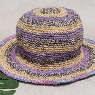 Hand-knitted cotton and linen cap knit hat fisherman hat sun hat straw hat - French violet garden stripes