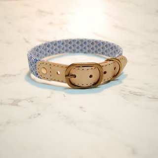 Dog Collar L No. Blue Summer Style Tile Print Totem Vegetable Skin Can Add Tag