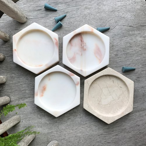 [White Aurora hexagonal small] marble home decorative ornaments wobble