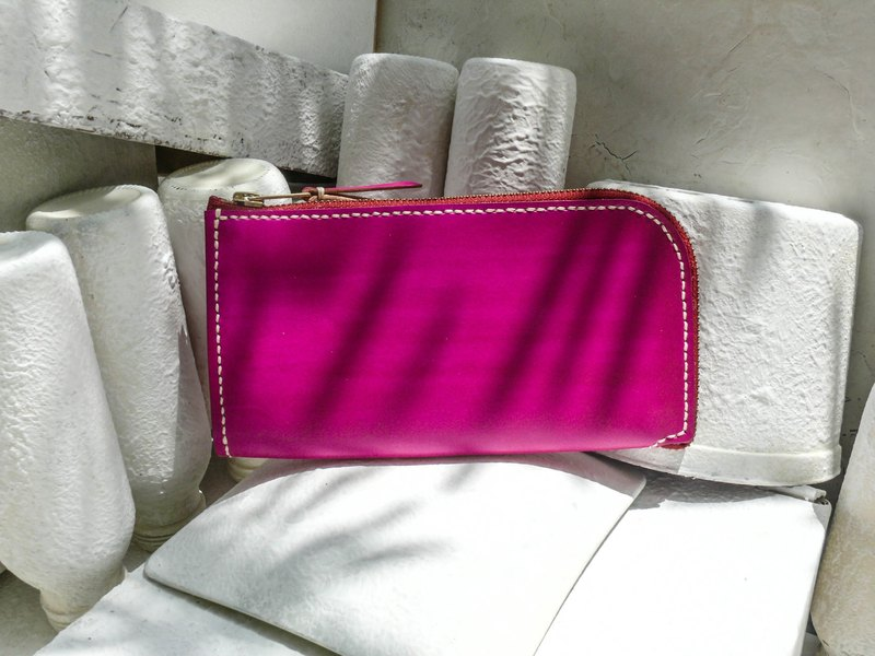 Do not hit the pink vegetable tanned leather full leather wallet